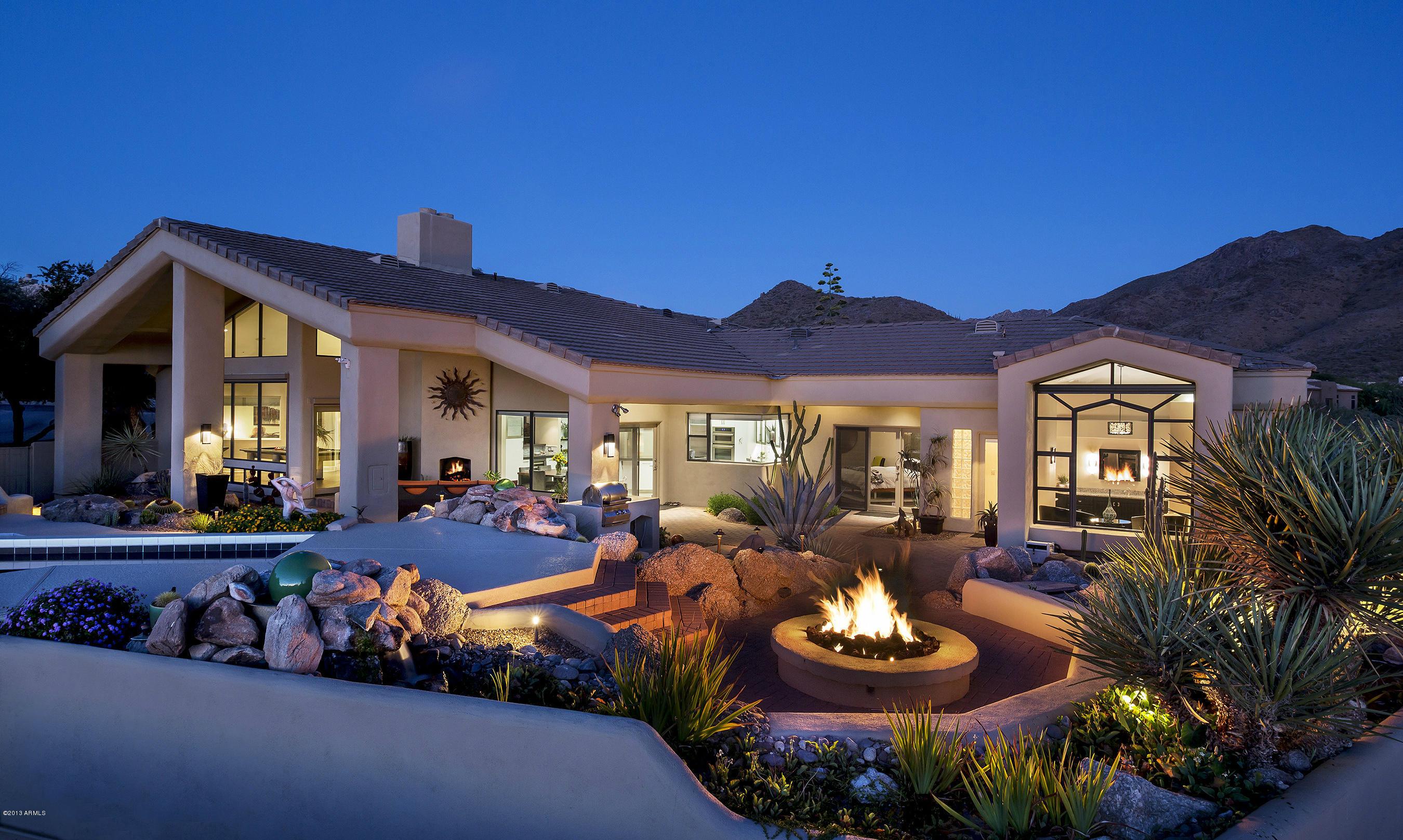 Fireplace and outdoor living in Scottsdale AZ, Troon neighborhood