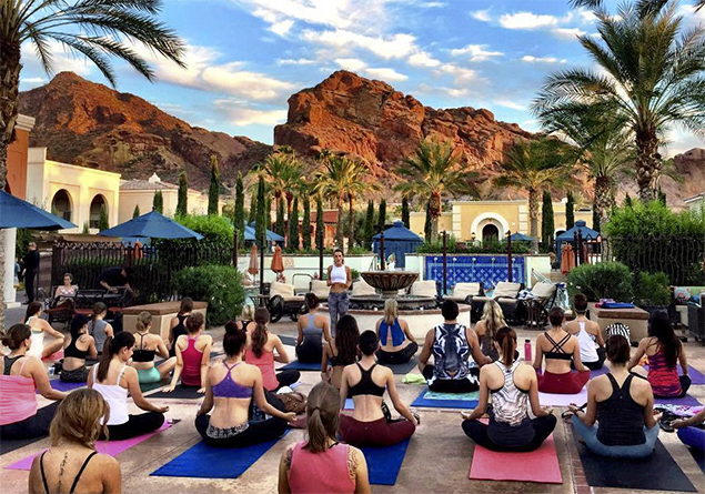 Outdoor yoga session in perfect weather of Scottsdale AZ
